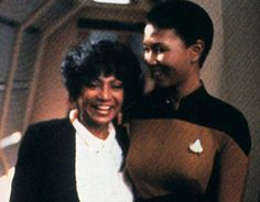 Mae Jemison (the first Black woman astronaut) and Nichelle Nichols hanging out on the ST: TNG set. How epic is that!