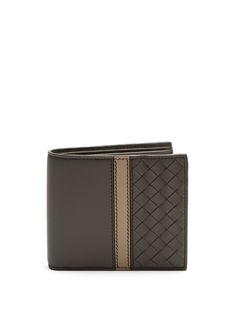 BOTTEGA VENETA Intrecciato-panel bi-fold leather wallet. #bottegaveneta #wallet