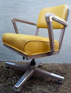 Vintage Yellow McDowell Craig Office Tanker Desk Chair by JoeVintage, via . - Home Office Pin Vintage Office Chair, Retro Desk, Best Office Chair, Vintage Chairs, Vintage Furniture, Cool Desk Chairs, Room Chairs, Tanker Desk, Office Chairs Online