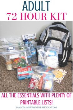 Essential DIY Adult 72 Hour Kit with Printable Checklists – Maintaining Motherhood – Survival Kits – Grandcrafter – DIY Christmas Ideas ♥ Homes Decoration Ideas 72 Hour Emergency Kit, Emergency Binder, 72 Hour Kits, Emergency Preparation, Emergency Supplies, Survival Supplies, Emergency Backpack, Emergency Kit For Adults, 72 Hour Kit List