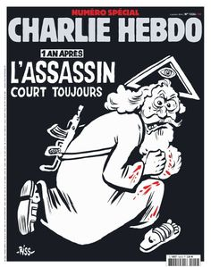 """Gott als flüchtiger Terrorist: Das Cover der Jubiläumsausgabe von """"Charlie Hebdo""""."""