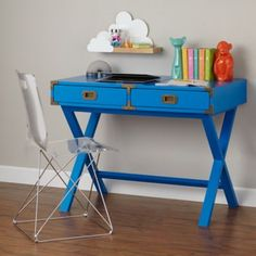 I absolutely LOVE this desk and chair!!!! Quick someone give me 500 bucks!!! Campaign Desk (Cobalt)  | The Land of Nod