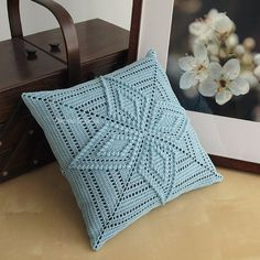 Starflower Pattern 12 Crochet Square Pillow   by okihirodesigns, $25.00