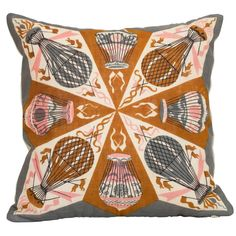 Vintage Designer Tammis Keefe Scarf Cushion Pillow with Irish Linen | 1stdibs.com