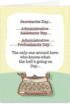 Cardstore makes it easy to personalize and mail Administrative Professionals Day cards like Administrative Typewriter card. Just add your own photos, text and a signature to a funny Administrative Professionals Day cards and we'll mail it for you! Teacher Appreciation Week, Appreciation Gifts, Teacher Gifts, Employee Appreciation, Staff Gifts, Volunteer Gifts, Teacher Humor, Teacher Stuff, Administrative Assistant Day