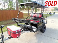 Huge selection of battery-powered street legal, off-road and beach ready golf carts. Most of our carts are customized and include lift kits CKDs ships nationwide! Atv Trailers, Off Road Camper Trailer, Trailer Diy, Custom Trailers, Golf Carts For Sale, Custom Golf Carts, Custom Trucks, Golf Cart Tires, Golf Mk1