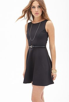 Scuba Knit Fit & Flare Dress in a MEDIUM in BLACK -$20.00 | Forever 21 - #2000085011