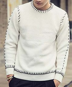 Slimming Round Neck Color Block Suture Design Long Sleeve Sweater For Men