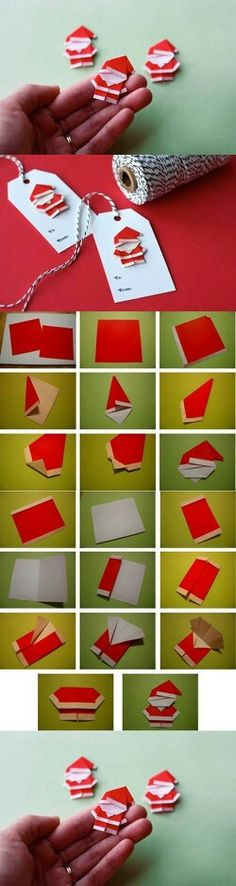 Cute gift tags in origami style: Santa Claus paper .- Cute gift tags in origami style: paper napkins fold. Noel Christmas, Christmas Gift Tags, Christmas Projects, Holiday Crafts, Christmas Ornaments, Christmas Ideas, Father Christmas, Christmas Wrapping, Christmas Crafts For Adults
