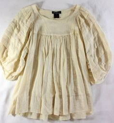 "~~~ BABYDOLL-POET ~~~ ISABEL MARANT COTTON ""BILLOWY SLEEVE"" CREAM TOP ~ 2/S/M #IsabelMarant #KnitTop #Casual"