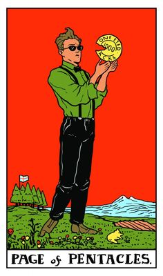 Twin Peaks Tarot: Page of Pentacles If you love Tarot, visit me at www.WhiteRabbitTarot.com