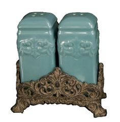 Drake Design 3826 Salt and Pepper Set, Turquoise, 4.5x5 Inch by Drake Design. $25.32. Salt shaker has 2 holes and pepper shaker has 3 holes. Ceramic body is oven-safe; microwave-safe; dishwasher-safe; food-safe; plastic plugs. Hand crafted ceramic salt and pepper shakers; die-cast resin base combines this set. Handcrafted, ceramic salt and peper shaker set is attractive and functional.  Easy to recognize salt shaker has only two holes on top and the pepper shaker has three.  Th...