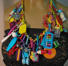Vintage 80's Plastic Toy Charm Necklace - there is still one of these at my parents. My girls and my nieces have all played with them when they were little.