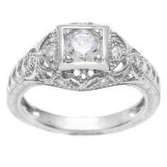 Tressa Collection Sterling Silver Vintage Art Deco CZ Bridal & Engagement Ring | Overstock.com Shopping - Big Discounts on Tressa Cubic Zirconia