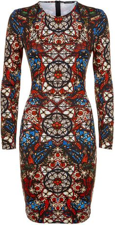 Alexander Mcqueen Multicolor Stained Glass Jersey Dress | House of Beccaria#