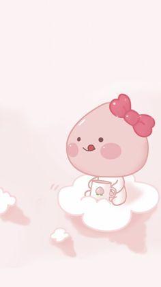 Peach Wallpaper, Cute Pastel Wallpaper, Cute Anime Wallpaper, Cute Cartoon Wallpapers, Wallpaper Iphone Cute, Aesthetic Iphone Wallpaper, Aesthetic Wallpapers, Cartoon Girl Drawing, Girl Cartoon