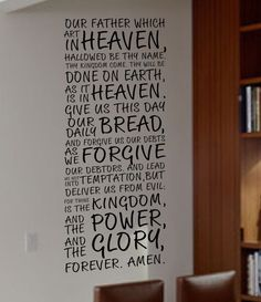 THE LORD'S PRAYER BIBLE KING JAMES MATTHEW Quote Vinyl Wall Decal Decor Sticker
