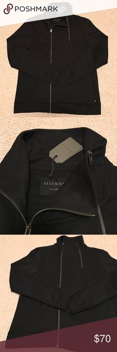 All Saints two Zip Cardigan Very cool All Saints zip Cardigan, offset full zip with second zip.. super soft lux fleece.. beautiful and unique!   Trim fit - NWT comment with questions. Thanks! All Saints Sweaters