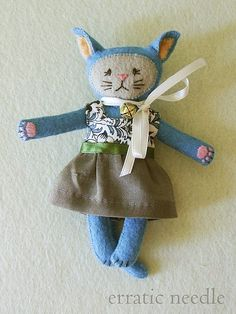 kitty with dress by Erratic Needle, via Flickr