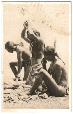 SW Natives (Pueblo or Hopi) making tools