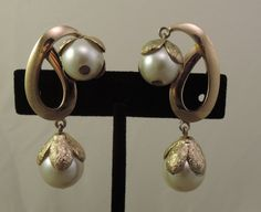 Signed Napier Gold Tone and Double Faux Pearl Drop Clip Earrings 1960s by thejeweledbear on Etsy