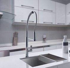 This Franke steel pulldown faucet paired with a undermount sink is design perfection Kitchen Work Station, Franke Sink, Stainless Steel Sinks, Undermount Sink, Kitchen Sink, Kitchen Design, Contemporary, Flare, Key