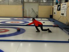 A stylish delivery at the curling rink in Naseby