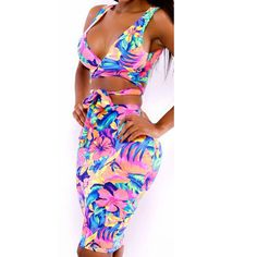 New Fashion Sexy Two-piece Multicolor Printed Split V-neck Hollow Dress
