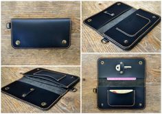 This products is 100% handmade, hand cut and hand stitched. Size: 9,5 x 18 cm/3.75 x 7.2 Material: genuine italian leather and italian waxed nylon thread. Colour: black This long wallet, perfect for bikers, for men but for women as well, features: - 1 frontal pocket for 1, 2 or more