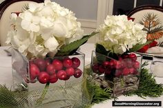 Who cares what Madonna thinks.I love hydrangea! This is a pretty Christmas arrangement. Christmas Flower Arrangements, Hydrangea Arrangements, Flower Arrangements Simple, Christmas Flowers, Wedding Arrangements, Christmas Holidays, Christmas Crafts, Christmas Ideas, Centrepieces