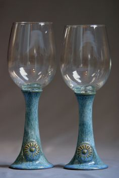 Wine Glass Set 2 wheelthrown pottery with clear by Potterybydaina, $38.00