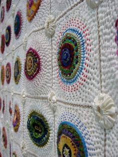 Greit Lombard - Block-a-Day Therapy - New Zealand   Hand and machine stitched squares joined by herringbone stitch.