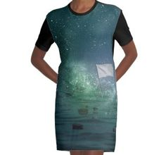 Graphic T-Shirt Dress Galaxy 2, Designer Dresses, Chiffon Tops, Classic T Shirts, Bodycon Dress, Shirt Dress, Casual, Sleeves, Cotton