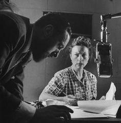 Agnes Moorehead with William Spier (Suspense producer/director)