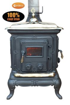 Victorian style stove with optional decor. The stove is and is CE approved. Not only can you use this stove as a multi fuel heating source but you can use the top hot plate to cook on. Tiny Wood Stove, Small Stove, Camping Heater, Tent Stove, Portable Stove, Small Log Cabin, Outdoor Office, Metal Shed, Victorian