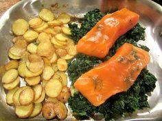 Mustard & Brown Sugar Glazed Salmon with Spinach. Easy one pan meal.  I substituted the salmon with halibut and it is truly delicious!