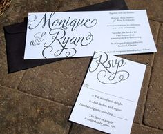 Black and White Flourish Invitation sample by FreshPaperStudios