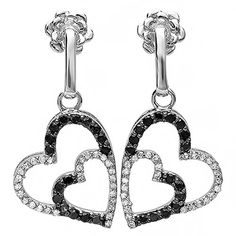 Carat (ctw) White Gold Black & White Diamond Heart Dangling Earrings (Custom w/ Snapbacks). Crafted in White Gold. Diamond Color / Clarity : H-I / Weighs approximately grams. Black Diamonds Enhanced For Color. Round Diamonds, Black Diamonds, Christmas Earrings, White Gold, Black And White, Women's Earrings, Diamond Earrings, Diamond Heart, Colored Diamonds