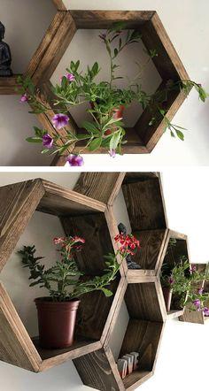Beautiful large wood hexagon shelves. I love geometric shelves. #hexagonshelf #honeycomb #geometricshelves #homedecor #wood #large #commissionlink