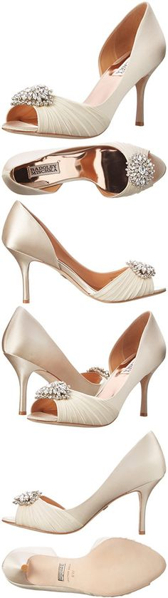 Badgley Mischka Women's Pearson D'Orsay Pump, Vanilla Satin, 9 W US