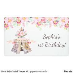 Floral Boho Tribal Teepee Wild One Birthday Banner. Happy Birthday Banner Printable, 1st Birthday Banners, Printable Banner, Girl First Birthday, First Birthday Parties, Party Supplies, Office Supplies, Outdoor Banners, 1st Birthdays
