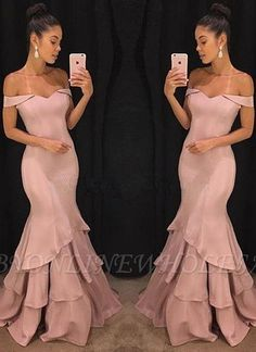Beautiful Simple Elegant Pink Mermaid Prom Dresses, Off-the-Shoulder Long Evening Gowns Evening Gowns Online, Long Evening Gowns, Mermaid Evening Dresses, Elegant Evening Gowns, Pink Mermaid Dress, Blush Evening Gown, Mermaid Gown Prom, Mermaid Style, Lace Mermaid
