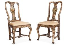 Hand-Painted Wood Chairs, S/2