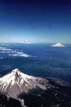 Mt Hood, Mt Rainier and Mt St Helens - Washington.