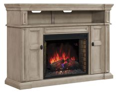 58″ Wyatt Soft White Grey Media Mantel Electric Fireplace – 28MM4684-T477 – Extraodinary molding mantel top and excellent base with a reverse breakfront image. $1,055.99.