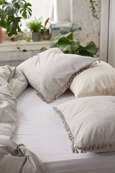 This Sham set from urban outfitters is so timeless and matches everything! Cotton Duvet Cover, Bed Covers, Bed Dimensions, Bohemian Bedroom Decor, Firm Pillows, Bed, Bedroom Decor, Duvet Covers, Bedding Sets