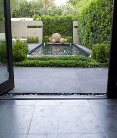+ pebble trail / pool color / bright greens - closed space feeling (unless it's a hotel suite private garden type of thing)