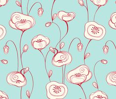 Stylized poppies - red line fabric by designed_by_debby on Spoonflower - custom fabric