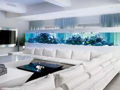 Hochwertig Aquarium Design Ideen Weißes Ecksofa Blaue Beleuchtung Mehr