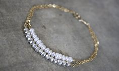 Kei Jewelry on Etsy - White Freshwater Pearl & Silver Pyrite 14k Gold Filled Double Bracelet.